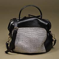 Черная кожаная сумка с серебристой вставкой, фото 1