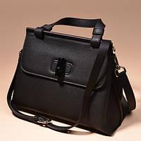 Черная кожаная сумка с бамбуковой застежкой
