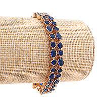 Браслет Xuping женский,синие кристаллы круглой и овальной формы,цвет золото