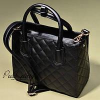 Черная стеганая кожаная сумка в стиле Chanel, фото 1