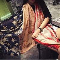 Хлопковый шарф- палантин со звездами Америка, фото 1