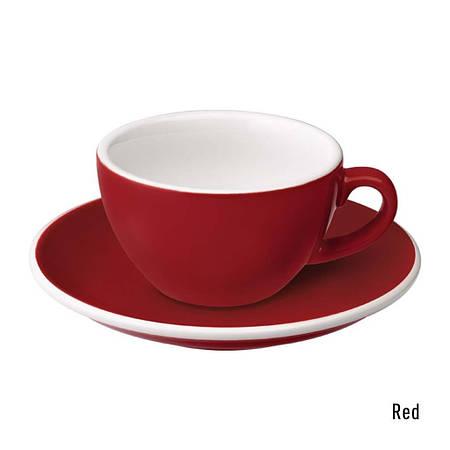 Набір чашка та блюдце для кави з молоком  Loveramics Egg 150ml Flat White Cup & Saucer (Red)