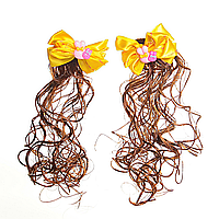 [20/6см] Заколки хвостики кучеряшки с желтыми бантами и искусственным волосом