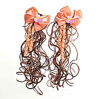 Хвостики Кучеряшки С Бантами И Искусственным Волосом Заколки