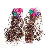 [20/6см] Заколки хвостики кучеряшки с разноцветными цветками и волосом