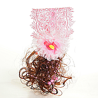 [10/8см] Повязка обруч хвостики кучеряшки розовая с искусственным волосом