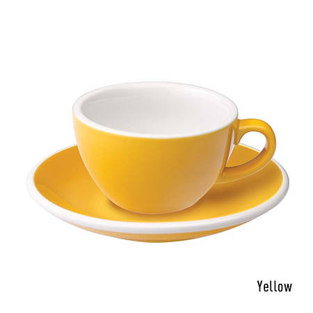 Набір чашка та блюдце для кави з молоком  Loveramics Egg 150ml Flat White Cup & Saucer (Yellow)