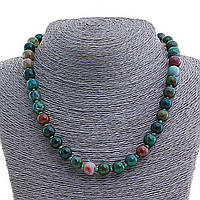 Бусы Яшма разноцветная,натуральный камень,  шарик 8мм, длина 45см