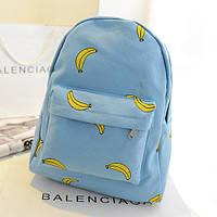 Голубой городской рюкзак с бананами, фото 1