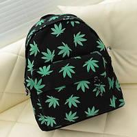Стильный городской рюкзак с рисунком Листья конопли, фото 1