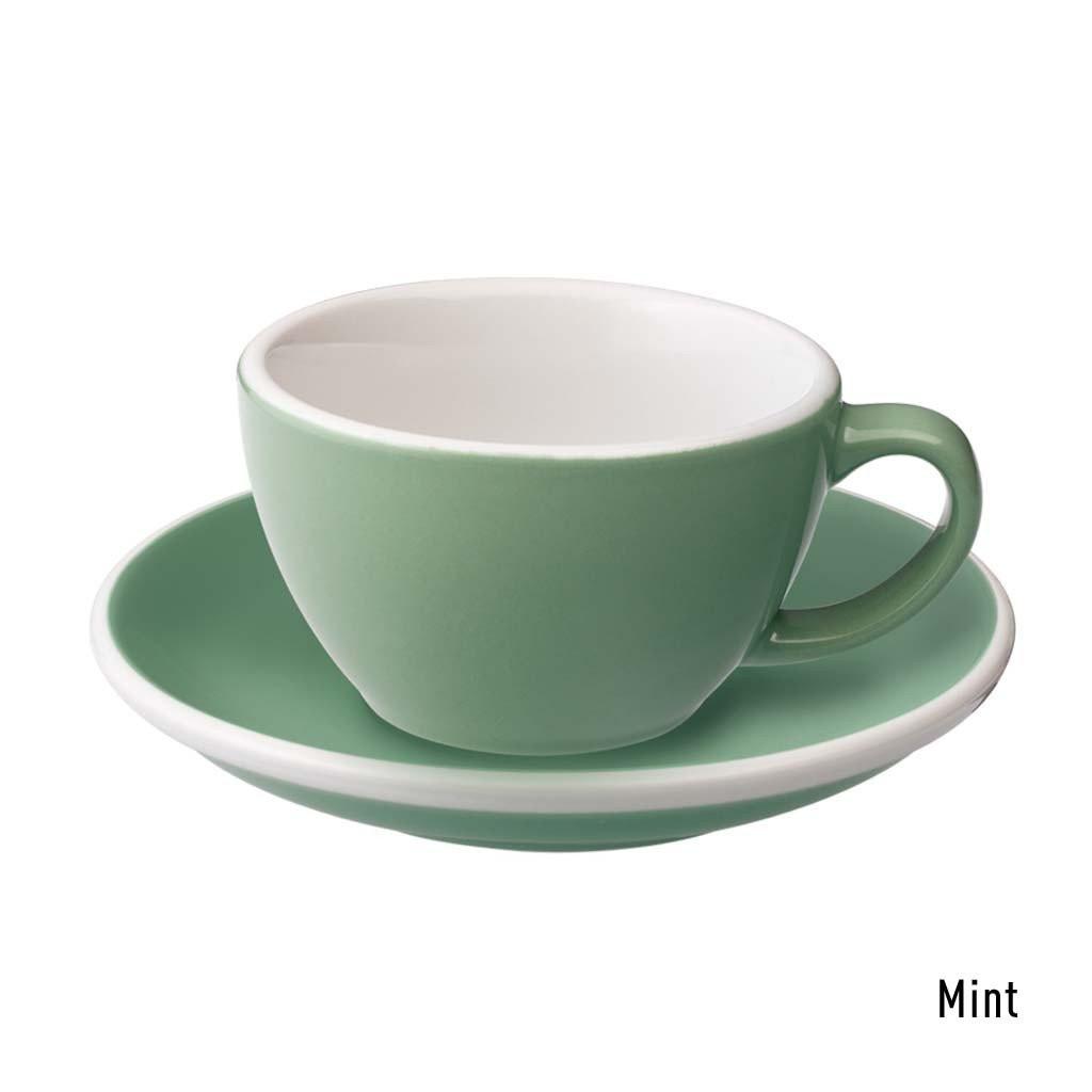 Набір чашка та блюдце для кави з молоком  Loveramics Egg 150ml Flat White Cup & Saucer (Mint)