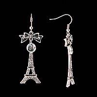 Серьги подвески Эйфелева башня, белые стразы, металл под серебро, 6см