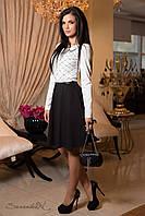 Платье женское из трикотажа, коктельное, кокетливое, белое/чёрное