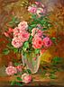 «Букет роз в вазе» картина маслом