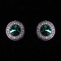 Серьги  2см  круг кристалл страза зеленый