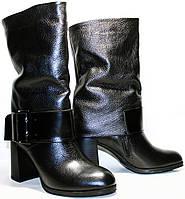 Полусапожки женские Cluchini 3739 черные, натуральная кожа,  на каблуке 8,5 см.