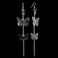 """Серьги-петля-подвески из трёх пар ажурных бабочек разного размера, на цепочке\под """"серебро""""\ 150мм"""