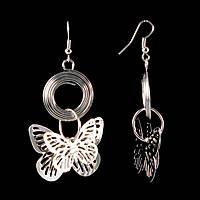 """Серьги петля-подвеска крупные ажурные бабочки на кольцах \""""в """"серебре""""\65мм"""