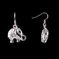 Серьги-петля-подвески- слоники, цвет- серебро\30*15