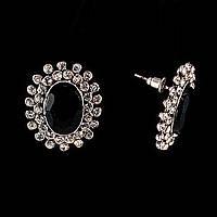 """Серьги-пусеты в """"Английском стиле"""" с черными кристалами в оправе из страз\ под """"серебро"""" \25*20мм"""