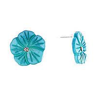 """Серьги-гвоздики нат. перламутр со стразом """"Голубой Цветок"""" серебристый металл, Ø20mm"""