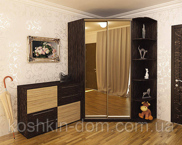 Угловой шкаф-купе с фасадами из ДСП и зеркал