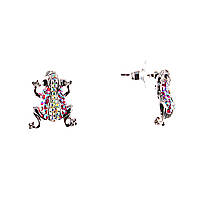 """Пусеты """"Лягушки"""" Украшены Белыми И Розовыми Стразами, Металл """"Серебро""""\ 20×17Mm Серьги"""