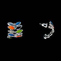 В Форме Полумесяца Из Разноцветных Лепестков, Со Стразами \Эмаль\Под Серебро \18*22Мм Серьги-Пусеты