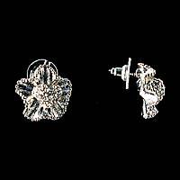 Цветок С Белыми Стразами, Металл Под Серебро, 1,5См Серьги-Пусеты