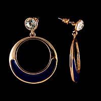 """Серьги-пусеты кольца """"Конго"""" с синим декором и стразом\под """"золото"""" 45*35мм"""