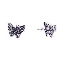 """Серьги-пусеты- бабочки, усыпанные стразами, под """"старое"""" серебро, 15мм"""