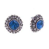 Серьги-пусеты с ромбическими синими кристаллами в ярусной оправе, стразы , 20мм