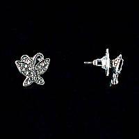 Бабочки,Белые Стразы,Металл Под Серебро,1,5См Серьги-Пусеты
