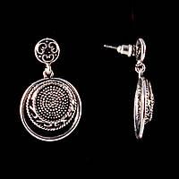 Серьги-пусеты с подвеской Медальон, под капельное серебро,35мм