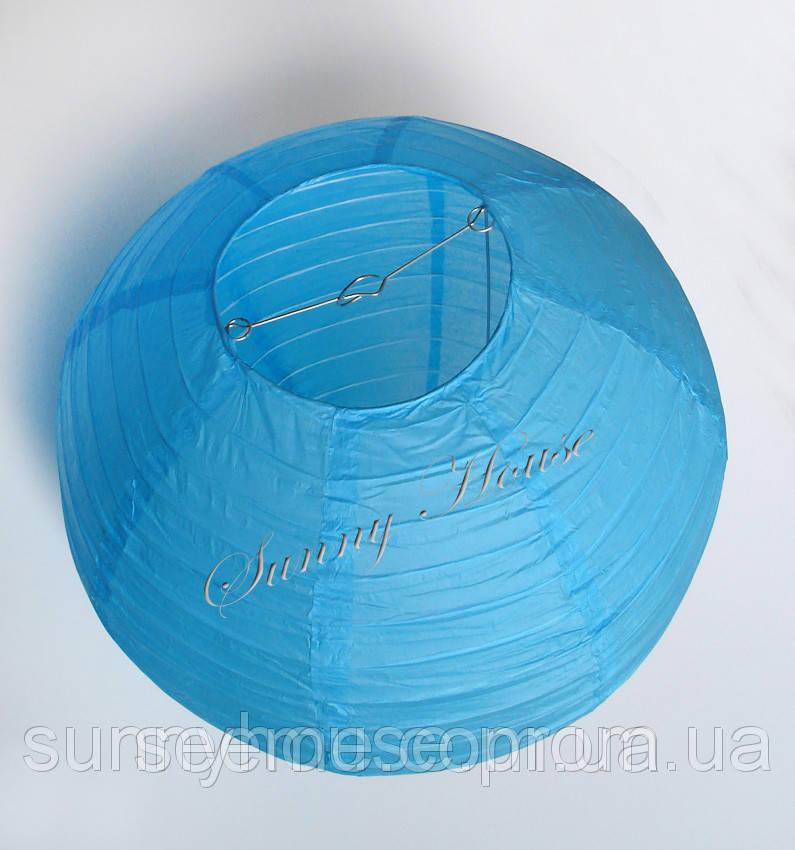 Шар подвесной декоративный «Плиссе Классик», диаметр 35 см.Цвет небесно-голубой