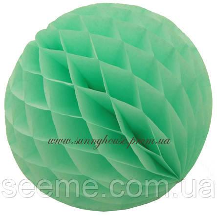 Шар подвесной декоративный «Соты», диаметр 20 см.Цвет мятный