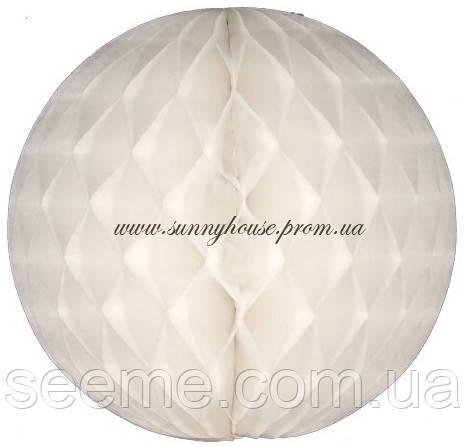Шар подвесной декоративный «Соты», диаметр 30 см.Цвет белый