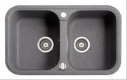 Мойка гранитная двойная (770х470х190 мм) Adamant TWINS (серый)