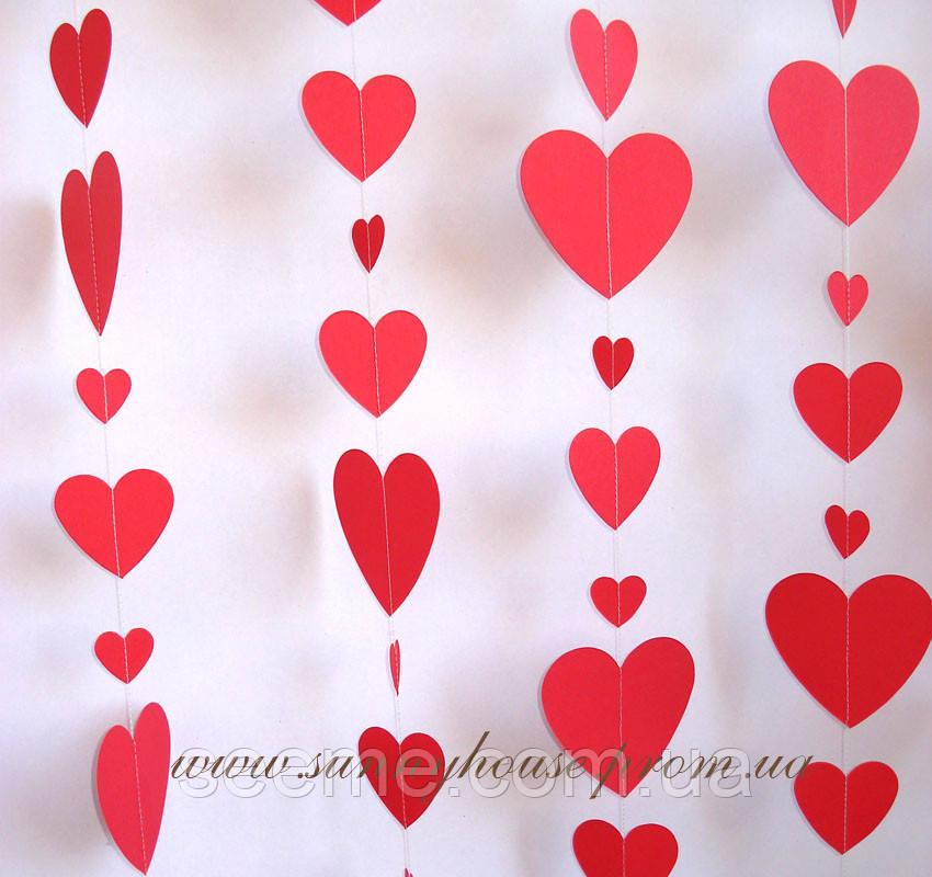 Гирлянда для декора праздника «Сердца», цвет красный, 1,5 метра