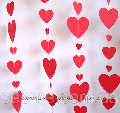 Гірлянда для декору свята «Серця», колір червоний, 1,5 метра