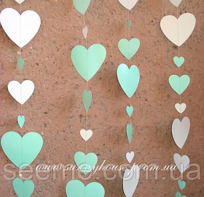 Гірлянда для декору свята «Серця», колір м'ятний з білим, 1,5 метра