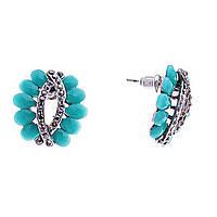 [2/1,7см] Серьги женские оптом, пусеты круглые, с голубыми камнями и декоративным элементом со стразами
