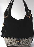 Женская сумка из натуральной замши со стразами