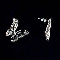 Бабочки, Белые Стразы, Металл Под Серебро, 2См Серьги-Пусеты