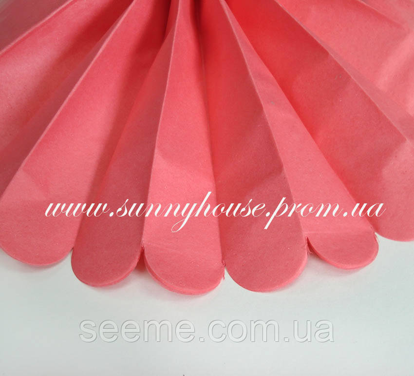 Бумажные помпоны из тишью «Coral Rose», диаметр 35 см.
