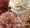 Бумажные помпоны из тишью «Raw sienna», диаметр 35 см, фото 3