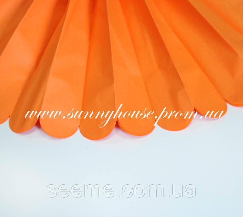 Бумажные помпоны из тишью «Tangerine», диаметр 35 см.