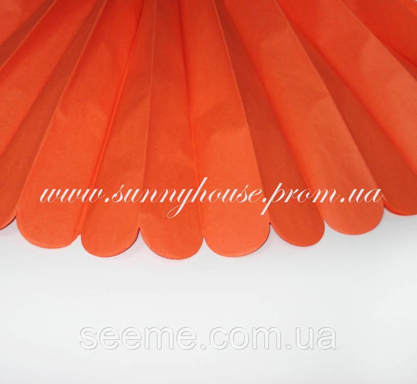 Бумажные помпоны из тишью «Orange», диаметр 35 см.