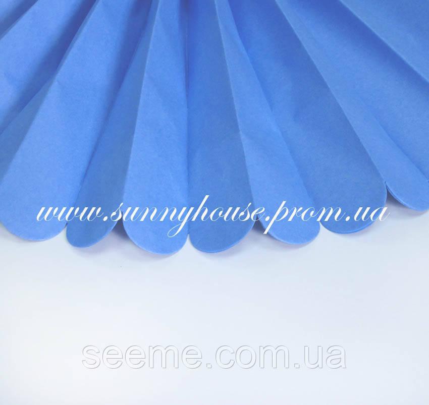 Бумажные помпоны из тишью «Pasific Blue», диаметр 35 см.