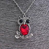 Кулон на цепочке Сова на веточке с красным и чёрными стразами, цвет серебро, 35мм